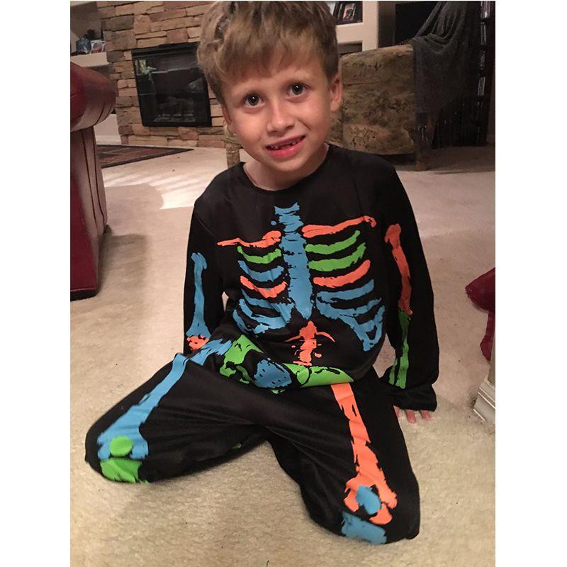 Carnival Anime Costume Halloween Costume For Kids Scary Boy Skeleton Costume Black Pyjama Jumpsuit Halloween Boys Cosplay