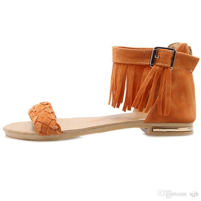 SJJH 2018 Bohemia Flat Sandals with Tassels Comfortable Faux Suede Material Elegant Dressy Shoes for Fashion Woman with Size Available A442
