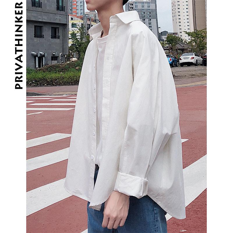 700c624ca16 2019 Men Clothes 2018 Mens Oversized Long Sleeve Solid Black Shirts Male  Korean Fashions Casual Button Up Couple Shirt From Beenlo