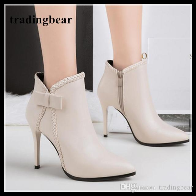 Elegant Bowtie Pointy Toe Thin High Heels Ankle Boots 10cm White