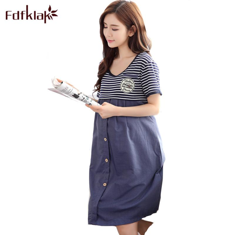 6a0b2b8c98d90 2019 Fdfklak Summer Short Sleeve Maternity Clothes Nightgown For Pregnant Women  Pregnancy Clothes Nightdress For Feeding F140 From Breenca, $28.78 | DHgate.