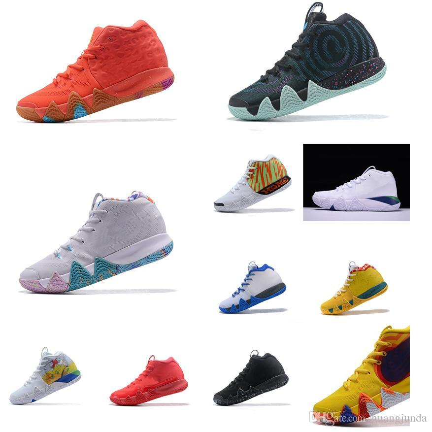 low priced d173b 99f45 Cheap new Men Kyrie Irving basketball shoes black gold team red Lucky  Charms sports yellow Deep Royal 4 IV sneakers boots tennis for sale
