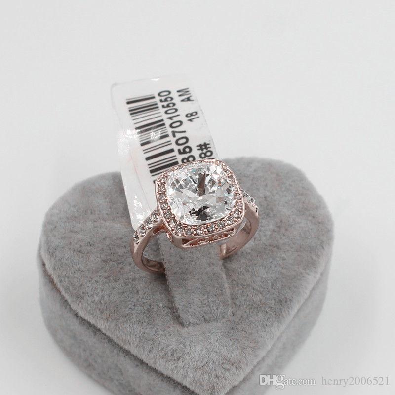 Valentinstag-Verpflichtungs-18K Rotgold 3,75 ct Platz Ringgröße gefüllt 7.5