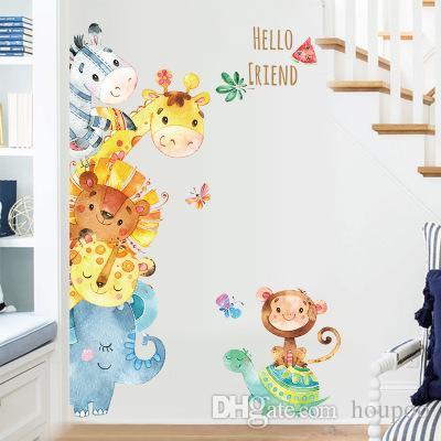 Lovely 78127cm HELLO FRIEND Wall Stickers Wallpaper Paper Peint 3d Home Decor Bathroom Kitchen Accessories Household Suppllies Cheap Art Decals