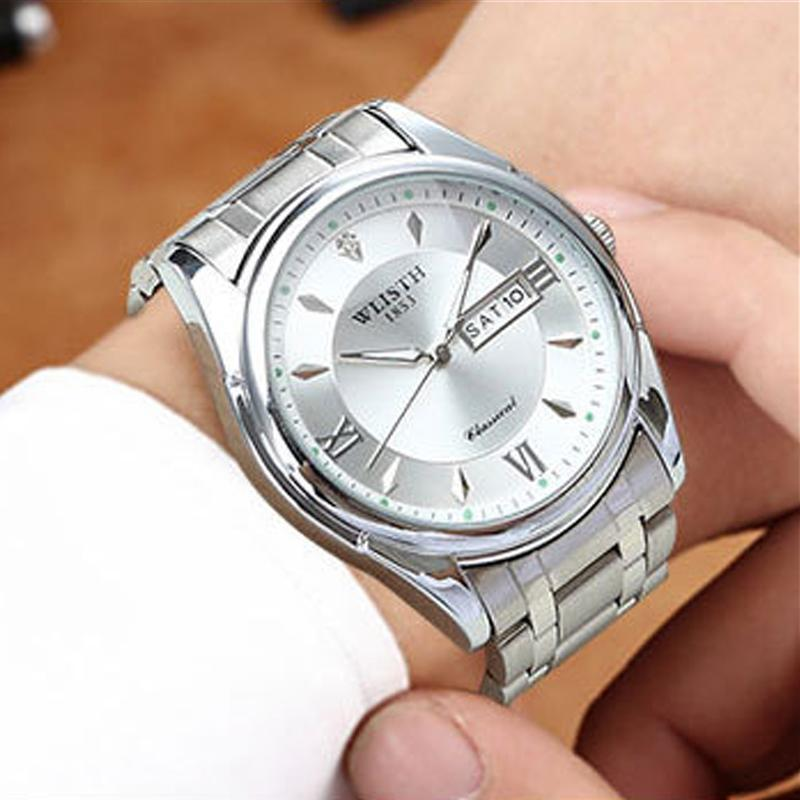 Hot Casual Male Quartz Watches Men Sports Watch Steel Bracelet Waterproof Clock Double Calendar Man Table Luminous