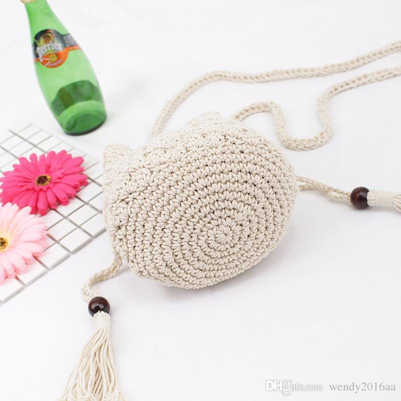 2018 New Tassel Hombro Beach Bohemian bolsa feminina Mujeres Crochet Fringed Messenger Bags Bolso con cordón Beige Crossbody bolsas