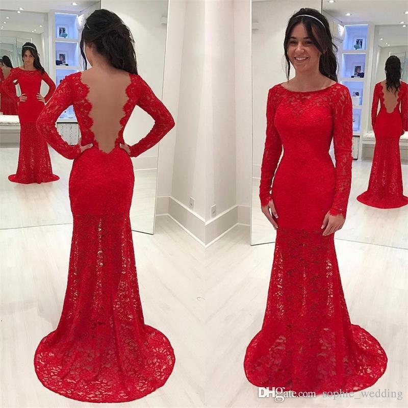 Charming Red Lace Evening Dresses With Long Sleeves 2018 Backless