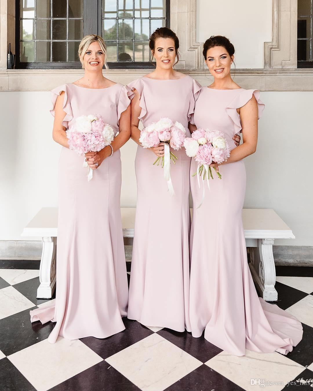 25eccf32cf 2019 New Cheap Bridesmaid Dresses Pink Ruffles Sleeves Jewel Neck Sheath  Open Back Long Wedding Guest Dress Plus Size Maid Of Honor Gowns Floral  Print ...