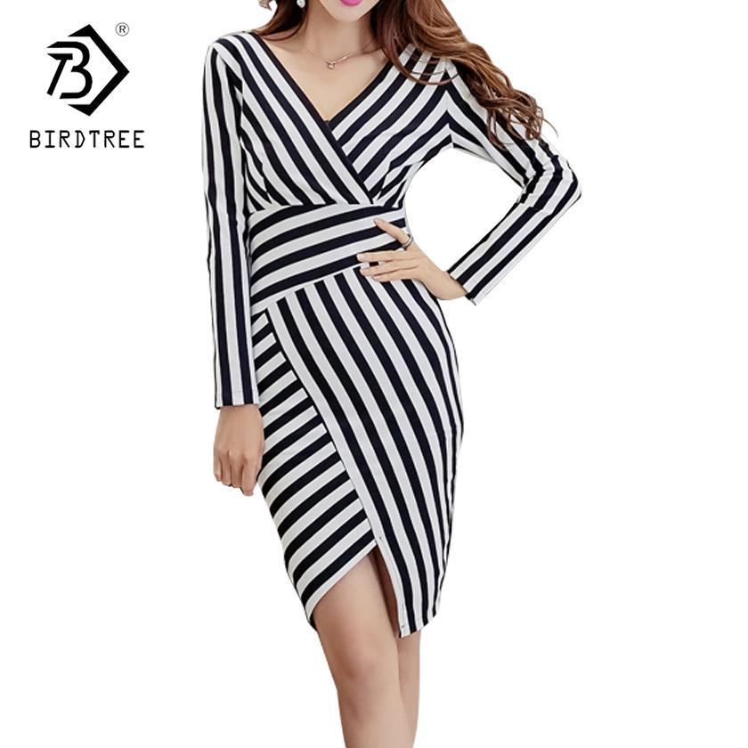 5f9e02e25376 Acheter 2018 Printemps Classique Rayé Asymétrique Femme Robe De Mode À  Manches Longues Genou Femme Robe Style Coréen Ventes Chaudes D82402A De   44.53 Du ...