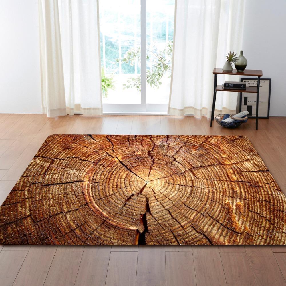 New Retro Wooden Floor Print Sofa Chair Floor Mats Shaggy Doormat