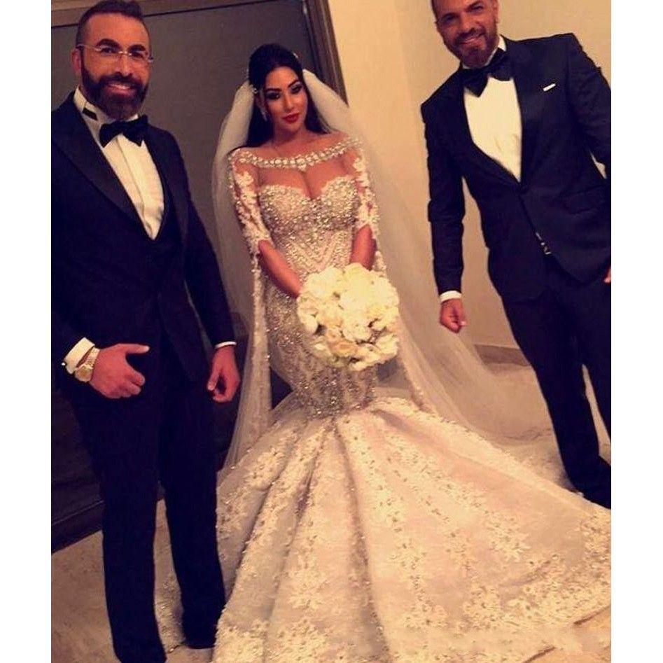 Dubai Arabic Luxurious Beads Crystal Mermaid Wedding Gowns Half Long Sleeves Scoop Neck Country Bridal Dresses 2018 Vestido De Novia