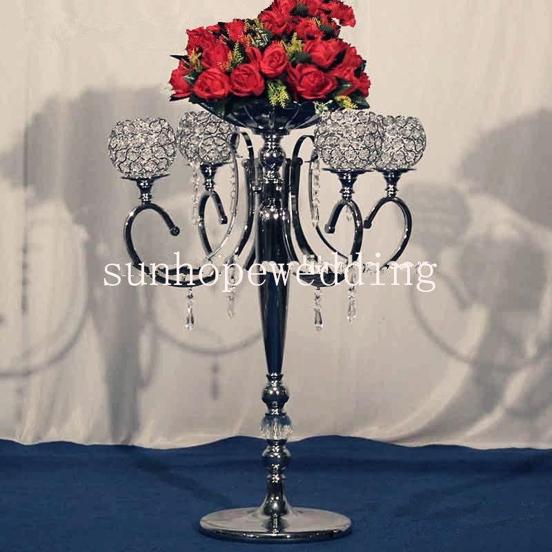 Silver Trumpet Vases For Wedding Centerpiece Metal Vase Low Price