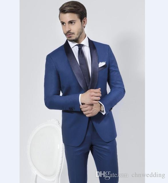 Özel Slim Fit Mavi Erkekler Düğün Şal Yaka Damat Smokin Balo için 2018 Suits İyi Adam Blazer Ceket + Pantolon