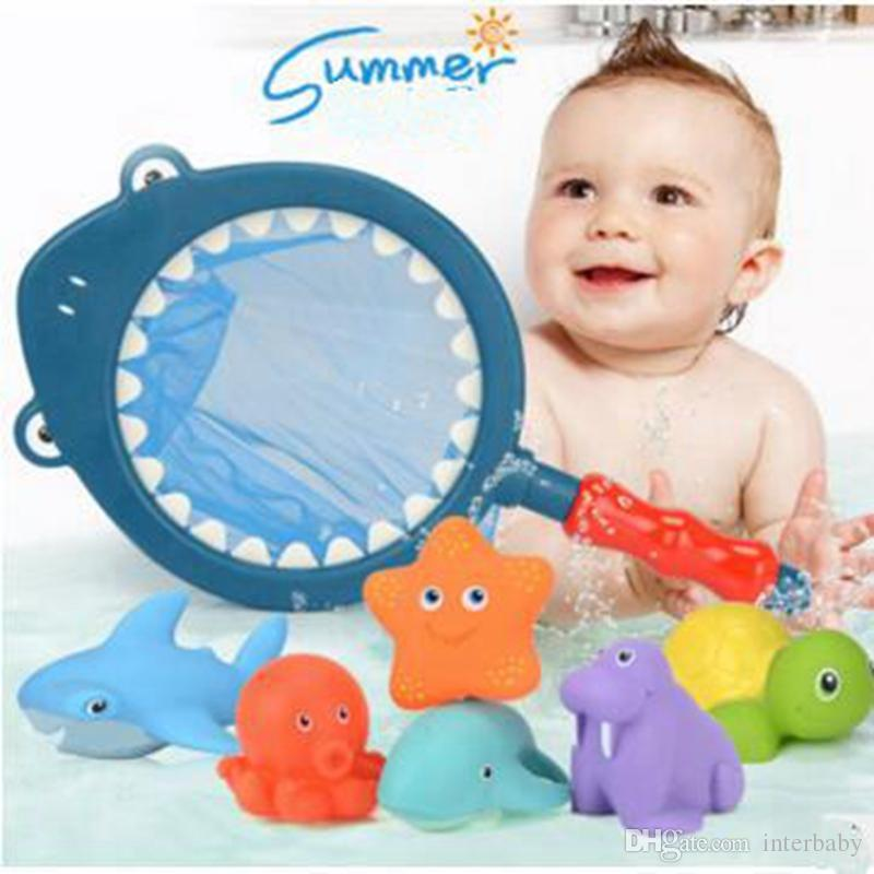 2018 Kids Bath Toys Suits Dabble Water Spray Toy With Fishing Net ...