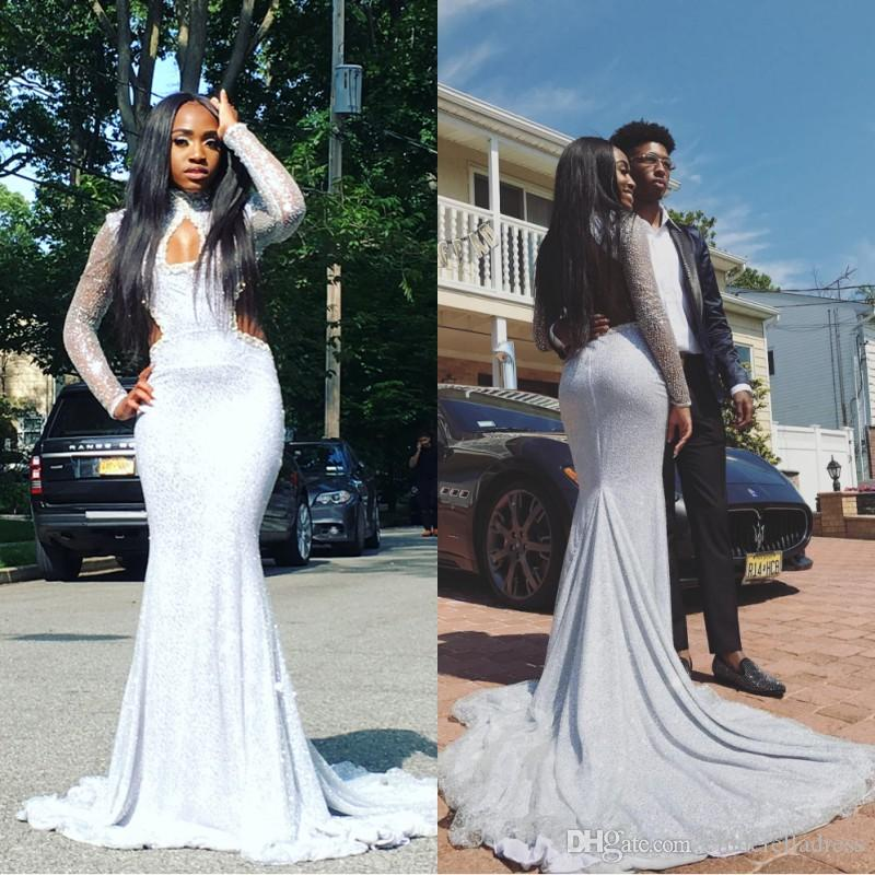 2018 African White Sequin Prom Dresses High Neck Hollow Out With