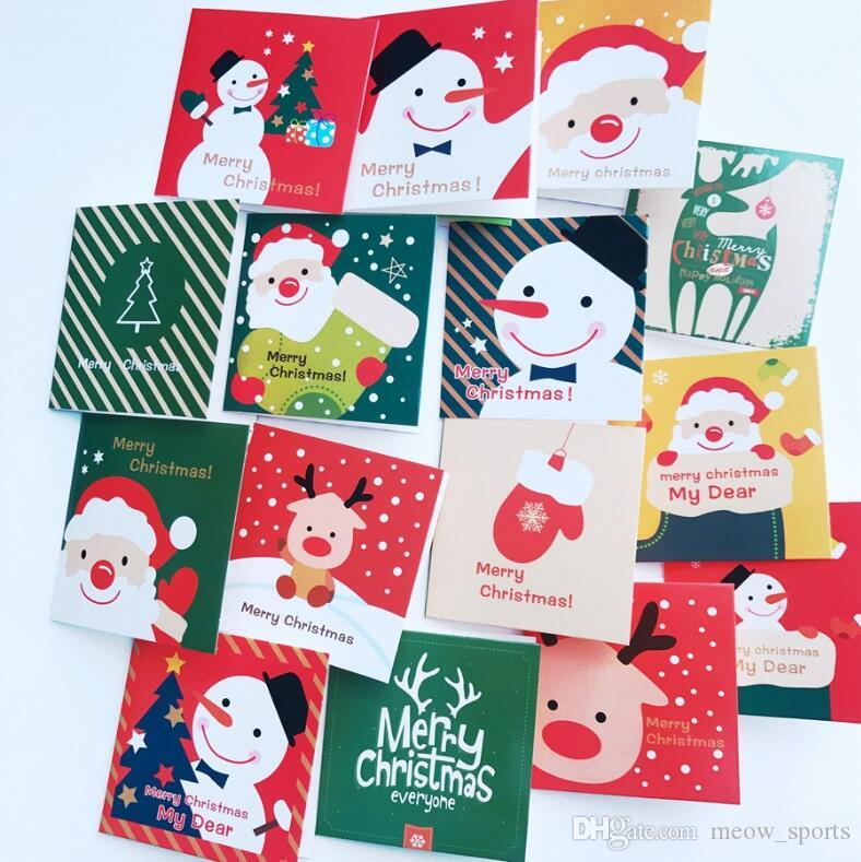 128 Card+128 Envelope /Cute Cartoon Mini Santa Claus Snowman Merry ...