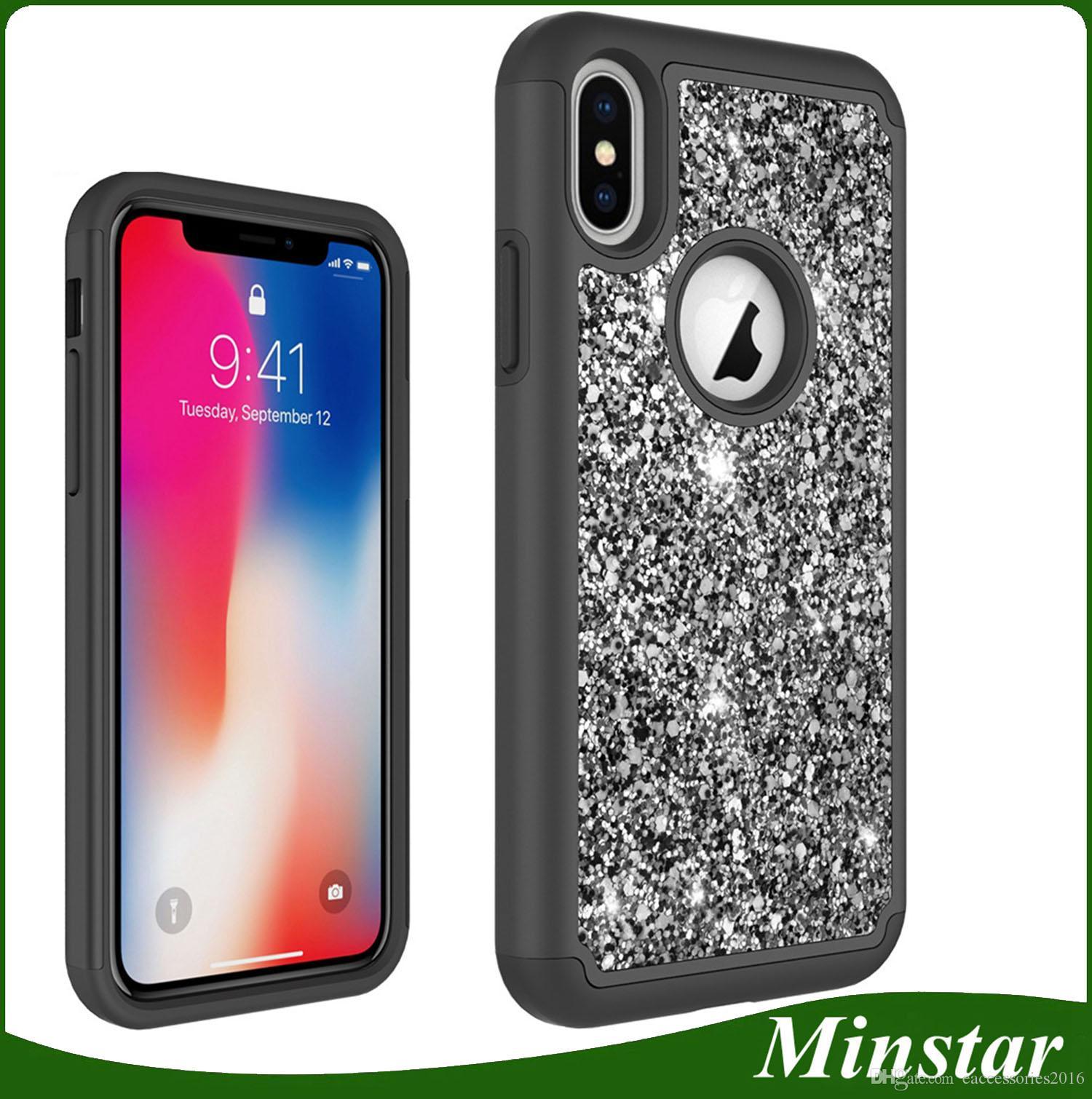 uk availability 75148 09b58 New Arrive Glitter Diamond Phone Case for iPhone SE2 SE 2 Samsung S9 S9  Plus S8 3 in 1 Case LG Aristo 2 LV3 K10 2018 K30 Bling Combo Case