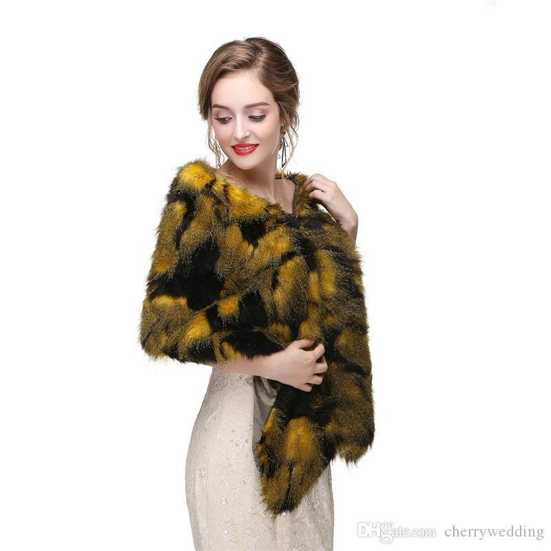 CMS15 New Faux Fur Wrap Cape Stole Shawl Cover Up bridal shrug Bridal Wrap Women Shawl For Special Occasion