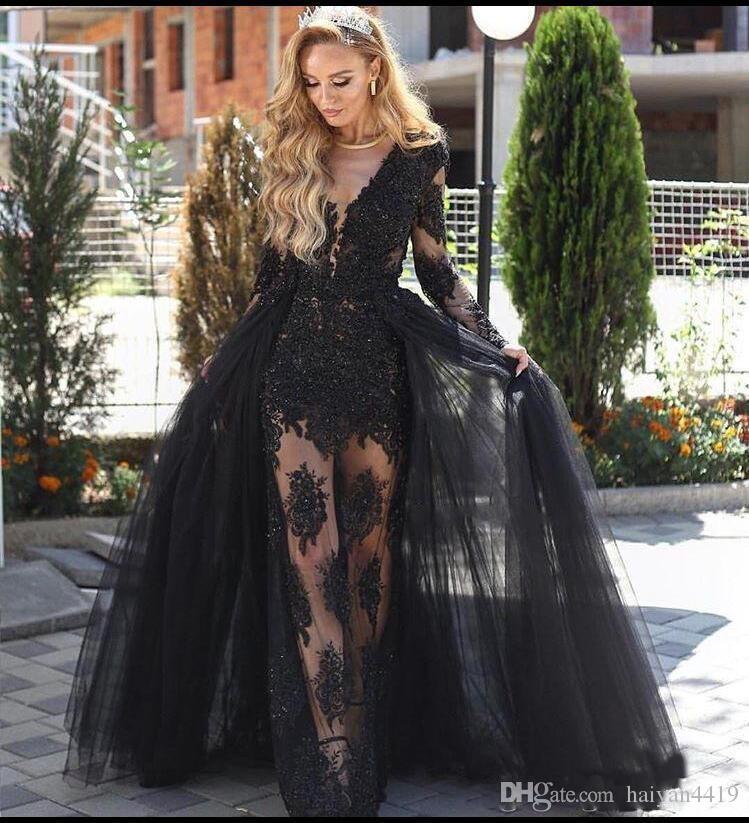 2018 섹시 블랙 머메이드 이브닝 드레스 착용 V 넥 목에 열쇠 구멍 긴 소매 티셔츠 레이스 골동품 골동품을 통해 볼 페르시 파티 파티 가운