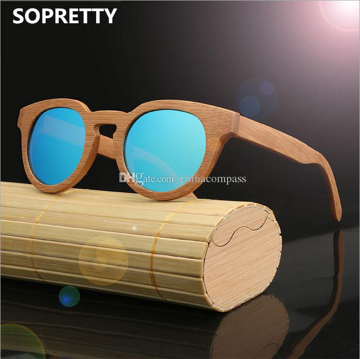 b00690f298 Round Bamboo Polarized Sunglasses Men   Women Retro Wooden Sunglass Classic  Flash Mirror Wood Eyewear Anti UV400 SO05W Round Bamboo Wooden Polarized ...