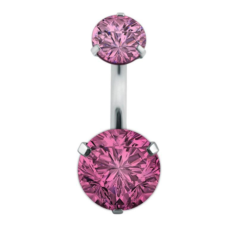 Doppel Mode-Kristallblumen-Bauchn Ringe chirurgische Stahlkörper Schmuck Sexy Navel Piercing # 242267