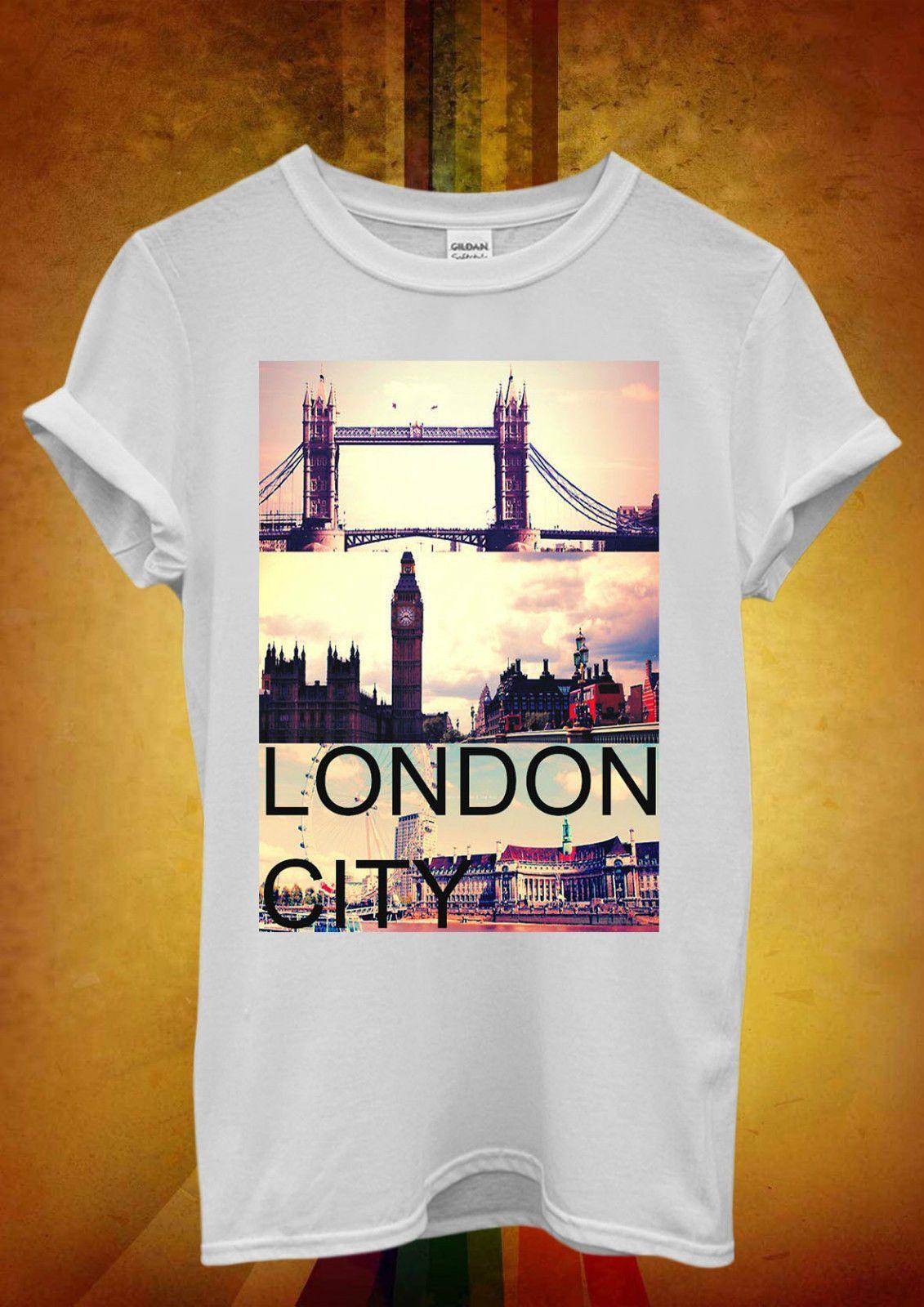 5fcf5b158 London City Big Ben Tower Bridge Men Women Unisex T Shirt Tank Top Vest 749  Mens Pride Dark T Shirt Funny Graphic T Shirts Funny T Shirts For Sale From  ...