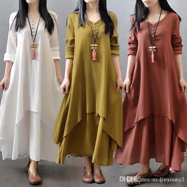 12818161c2 5XL 2018 Casual Women Cotton Linen Long Spring Dress Irregular Loose Long  Sleeve Maxi Dress Solid Big Swing Plus Size Vestidos Floral Cocktail Dress  Women ...