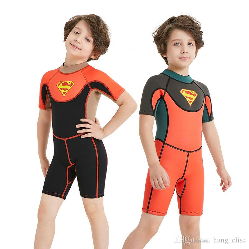 abbff78ec7 2019 2.5mm Neoprene Kids Short Sleeve Wetsuit Boys And Girls Diving Suit  Neoprene Surfing Snorkelling Wear From Hung elise