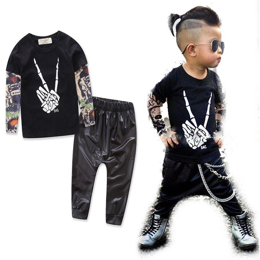 INS Çocuk kıyafetler erkek pamuk mektup Üst + pantolon 2 adet / takım bebek 3 stilleri C2192 suits