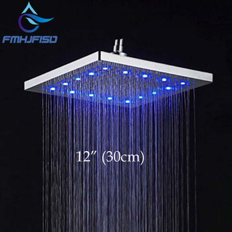 2019 Led 12 Square Rain Shower Head Ceiling Wall Mounted Tap