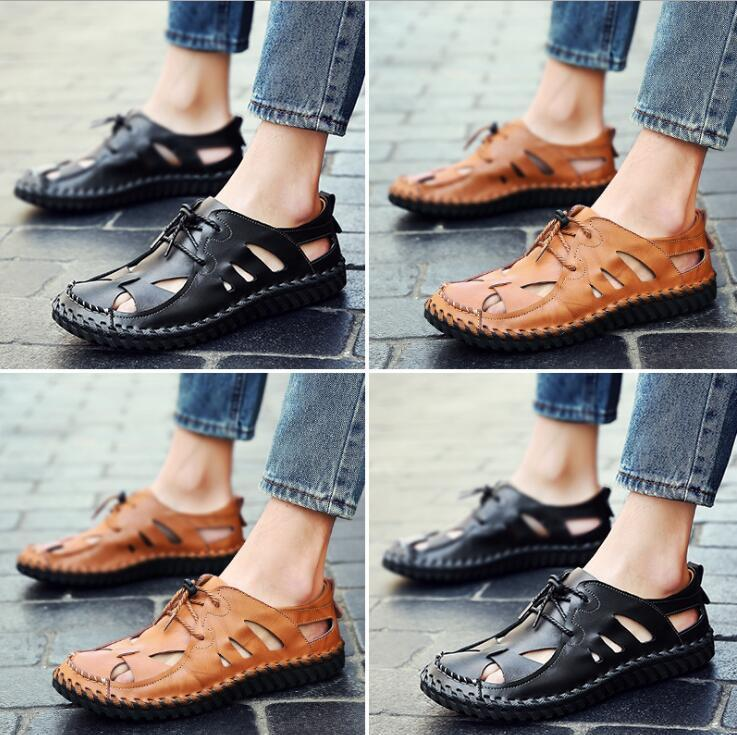 e142e22b4141 2018 New Hot Sale Men S Sandals Summer Soft Bottom Hole Roman Casual Cow  Leather Sandals For Men Male Beach Shoes Drvier Loafer Sandals Shoe Shop  Cute Shoes ...