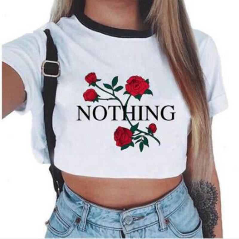 65bbd33f New Style English Rose Print Ladies O Collar Short Sleeved T Shirt Street  Fashion Slim Version Ladies White Short Sleeved Shirt Printable T Shirts T  Shrits ...