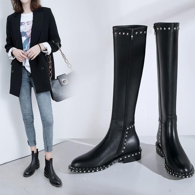 088c0a45 Autumn Winter Shoes Woman Long Knee High Boots 2018 Designer Rivets Leather  Bota Feminina Studded Thigh High Bottines Femmes