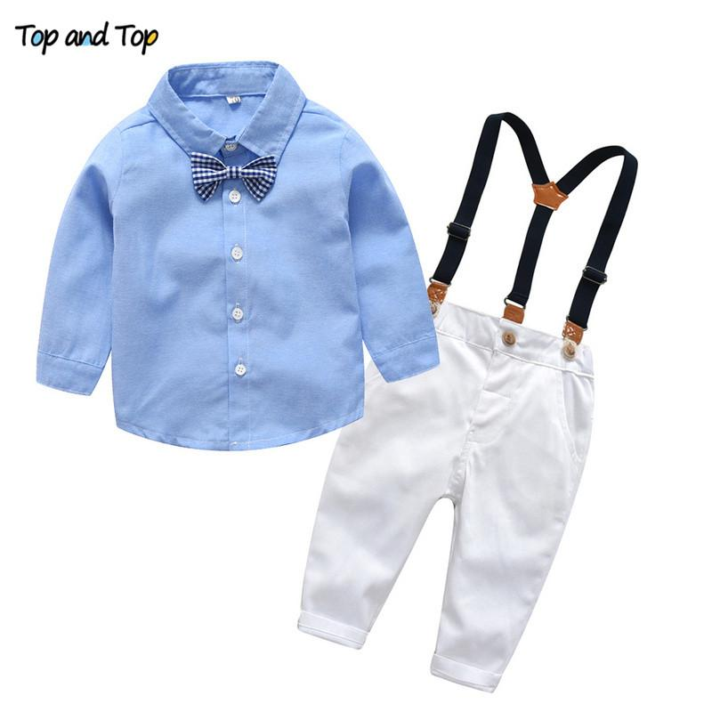 5ebc33afb Top and Top Baby Boys Formal Clothing Set Toddler Kids Baby Boys Outfits Gentleman  Bow Tie Long Sleeve Shirt +Suspenders Pants