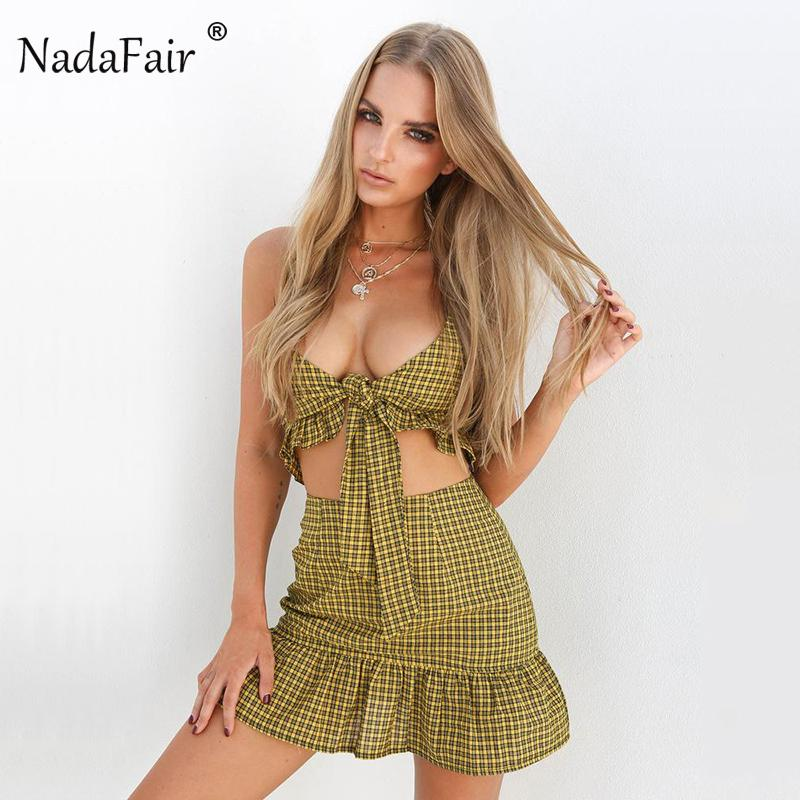 b4c97ca04758 2019 Nadafair Chiffon Plaid Set Women Summer Bow Back Zipper Crop Top And  Ruffles Hem Zipper Fly Mini Skirts From Lvyou09, $24.97 | DHgate.Com
