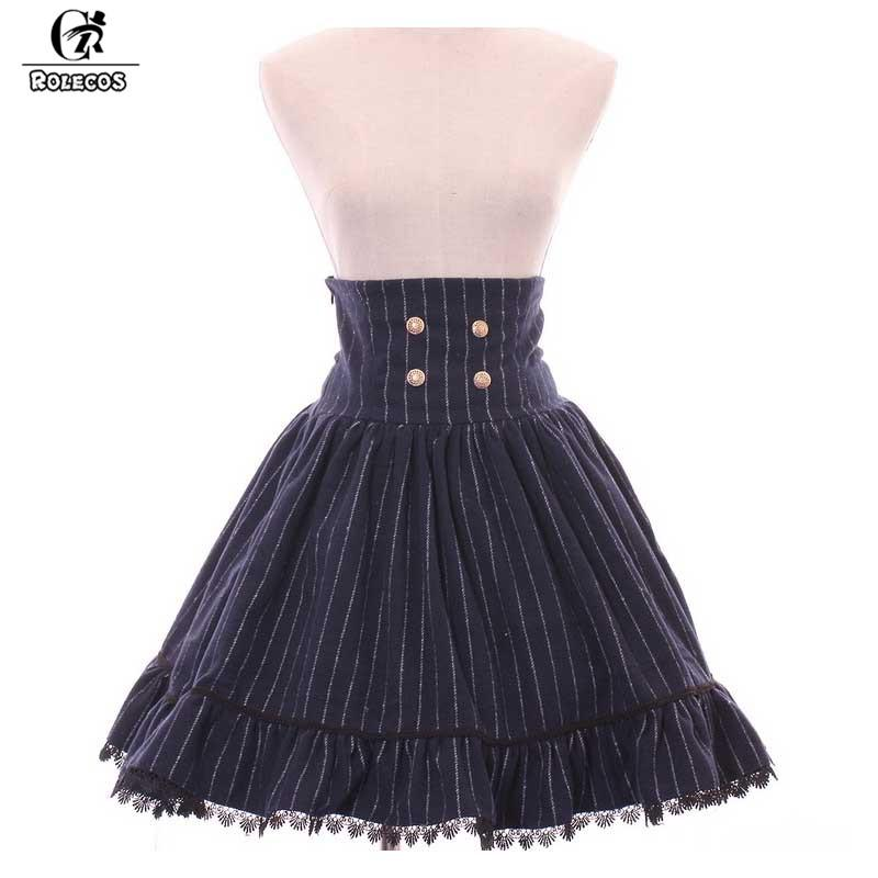 aca5154b2d810d ROLECOS Vintage taille haute jupe courte lolita femelle rayures verticales  classiques avec jupe en dentelle noire pour les femmes japonaises SK