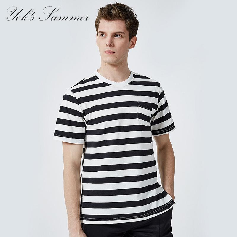 d42a67a4bd04 YOK S Men S Striped T Shirt Summer Casual Trendy Short Sleeve T Shirt 100%  Cotton Fashion O Neck Simple Men DN238 Shirts And Tshirts Tee Shirts Sale  From ...
