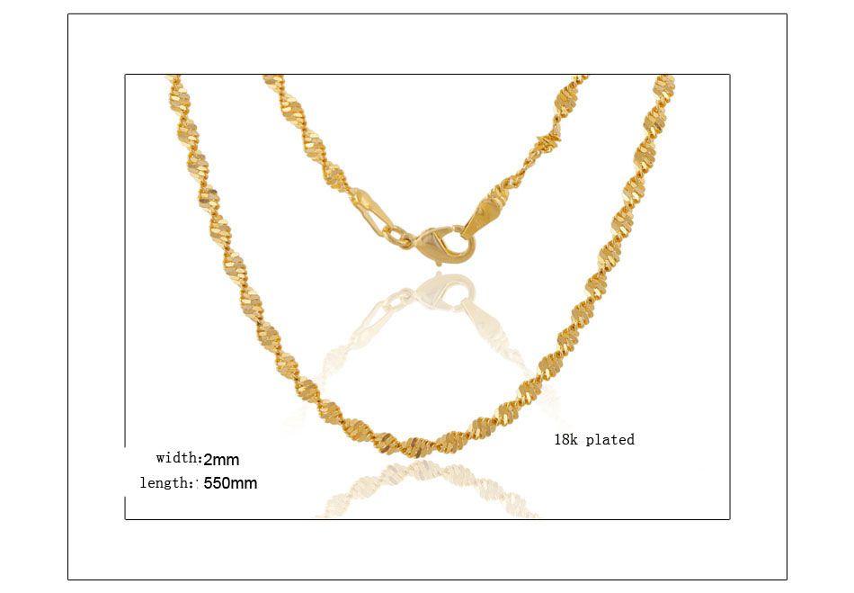 2018 Mode Hommes / Femmes 18k Or Plaqué Collier 2mm 24 pouces Exquis Côté Chaîne Cadeaux De Fête Croix Jésus pendentif Accessoires N161