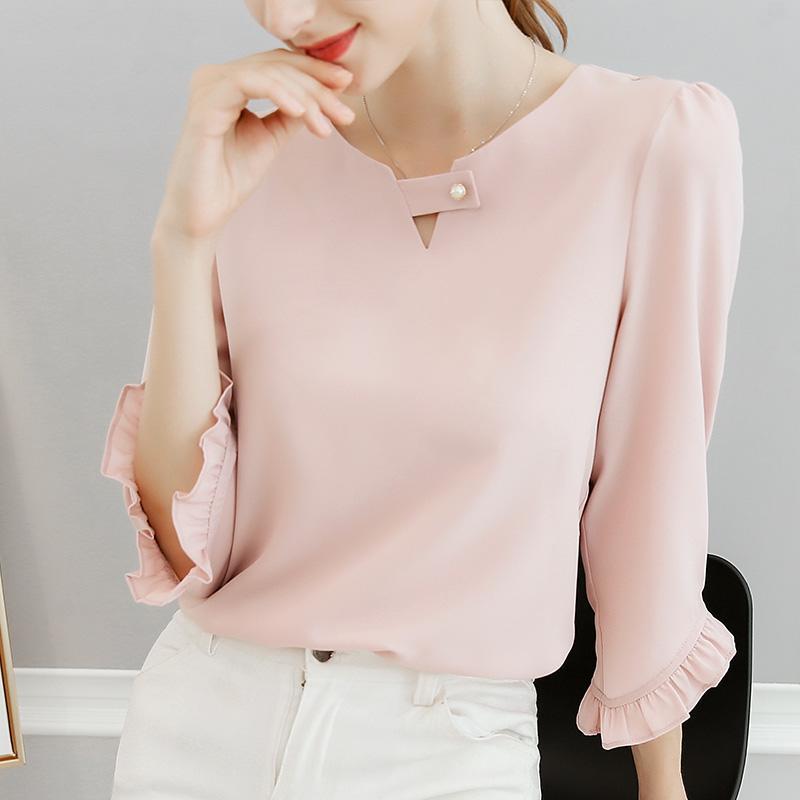 144c848673f4 New Spring And Summer 2018 Women Ruffles Sleeved Chiffon Blouse Pearl  Korean Fashion Solid Slim Female Lady Shirts Tops 0.11 8.9 Retro T Shirts  Tshirt ...