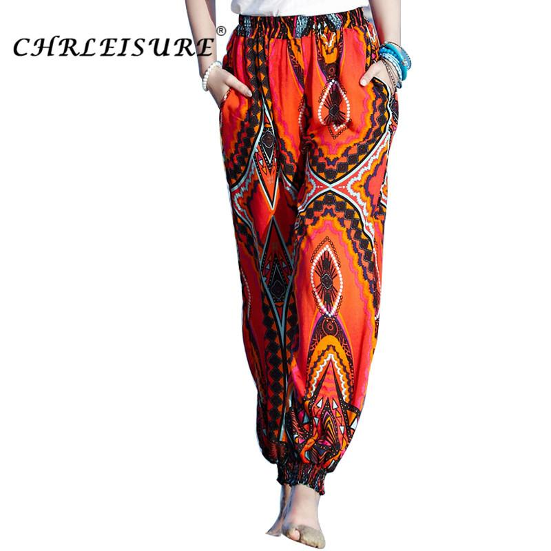 132e22a0fbaa9 2019 CHRLEISURE M 2XL Summer Boho Beach Pants Women Summer Printed Harem  Pants Large Size Loose Bohemian Bloomers Trousers Women From Elizabethy