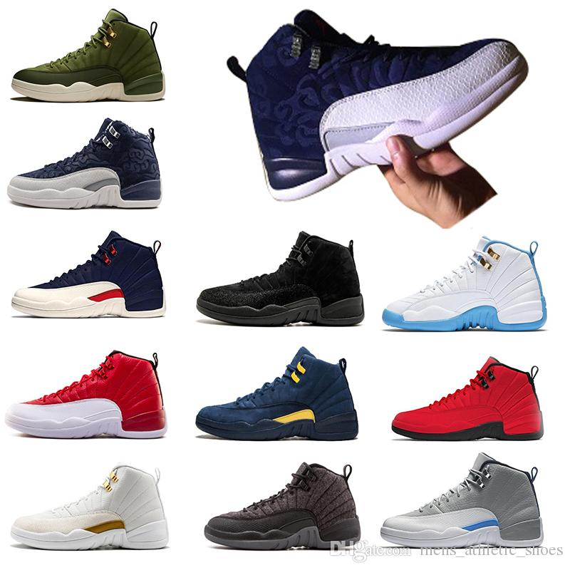 dd06b26cbe6327 2019 12s Men Jumpman XII Basketball Shoes International Fligh Michigan  Designer Shoes Gym Red OV Black White UNC Mens Sneakers Trainers Size 7 13  From ...