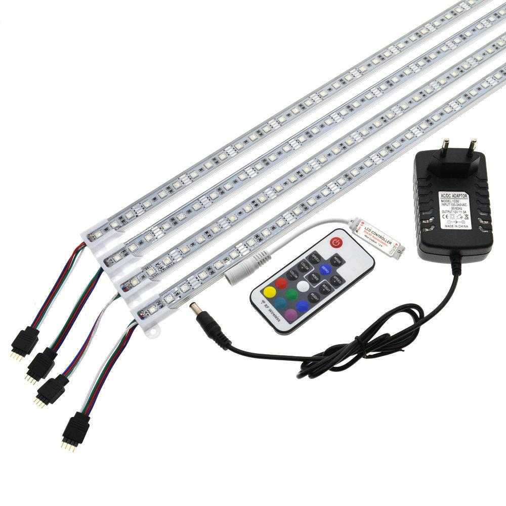 LED Bar Light 5050 RGB 50cm IP68 SMD36LED LED Rigid Strip Swimming Pool DC 12V with Switch Power Adapter