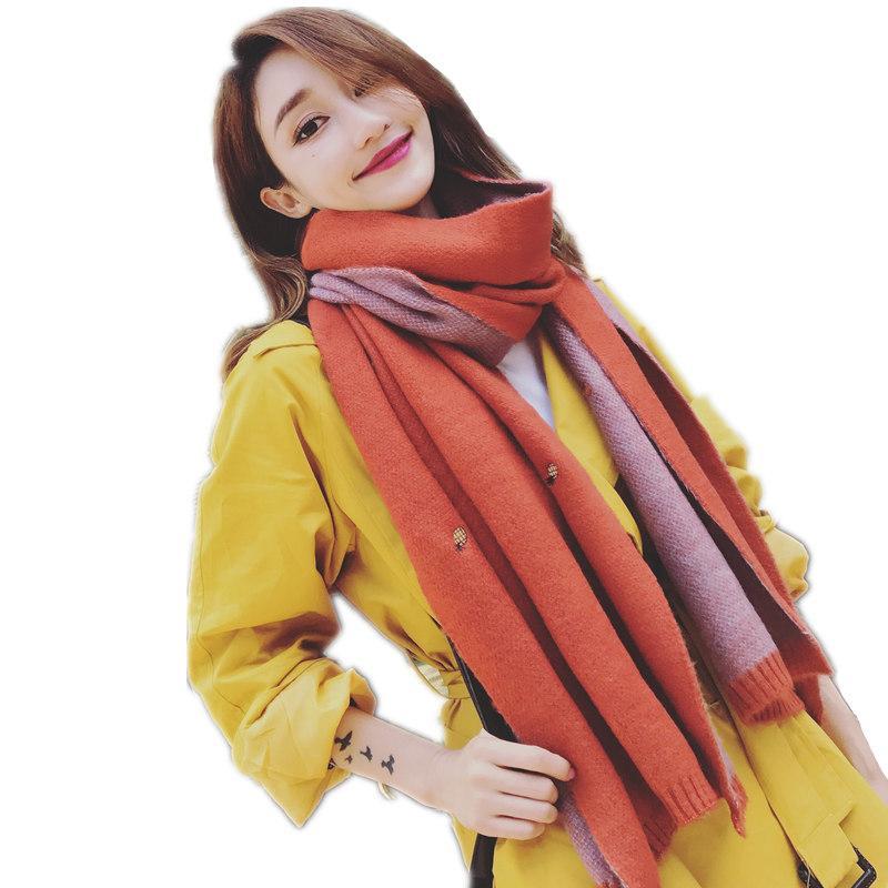 74c2f882b768 Großhandel Koreanische Art Winter Schal Frauen Mode Stickerei Schal Und  Wraps Verdicken Stricken Warme Echarpe Femme Kaschmir Schals Hijab Von  Xiacao, ...