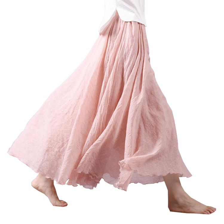 b04ab853d2bcf 2017 Fashion Design Summer Women Skirt Linen Cotton Vintage Long Skirts  Elastic Waist Boho Beige Pink Maxi Skirts Faldas Saia