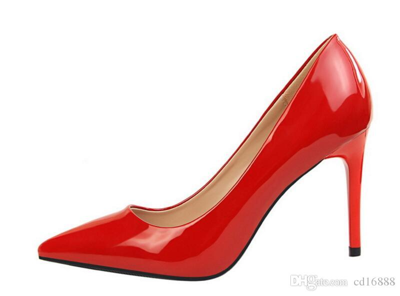 2018 new spring autumn simple fashion shoes fine with high heel patent leather wedding shoes shallow mouth pointed OL women shoes high heels