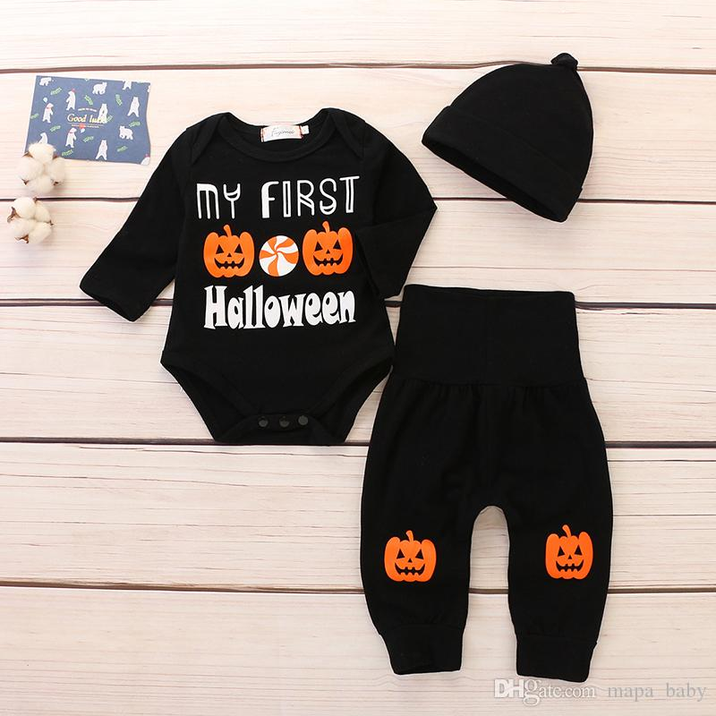 698f1723f 2019 Baby Halloween Outfits Rompers Boys Girls Pumpkin Long Sleeve ...
