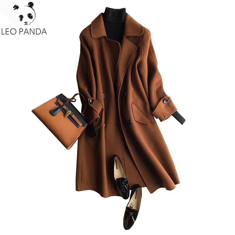 fd36b076596 2019 New For Women Coat 100% Wool Cashmere Coat Plus Size Double Sided  Woolen Coats High End Women S Jackets Autumn Winter Outerwear From  Qingchung