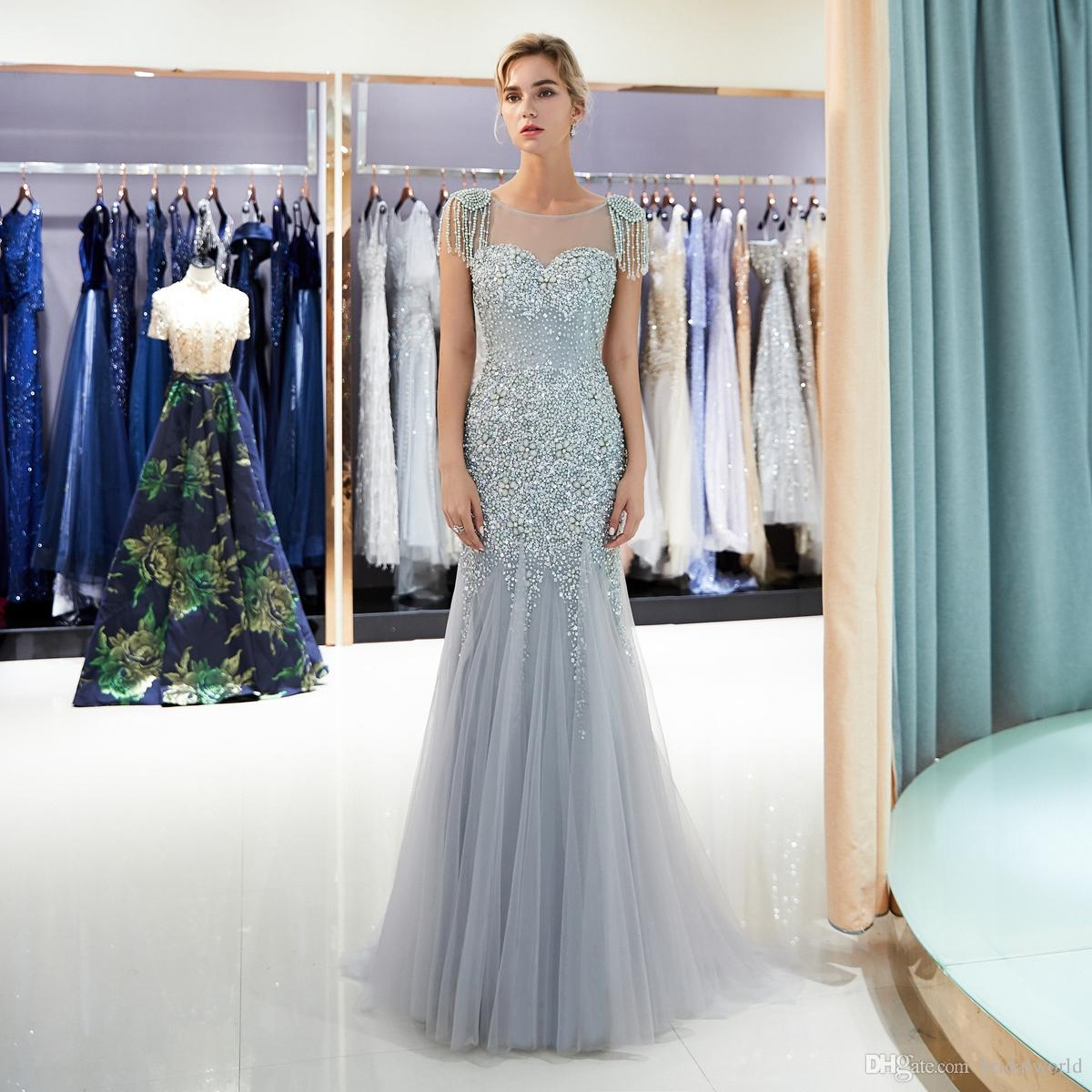 Gray Evening Dresses Beaded Pearl Sequined Prom Gowns Gold Mermaid Short Sleeves Vestidos Formal Para Mujer Handwork Sheer Neck Weddings & Events