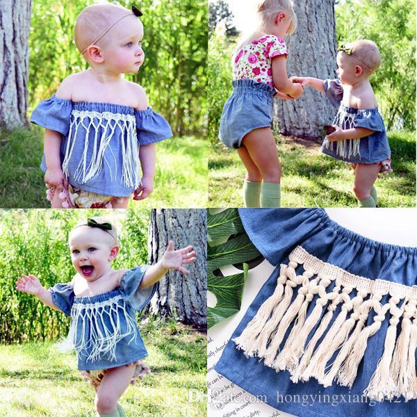 a0aa3c0e9 Fashion Infant Baby Girls Denim Tassel T-shirts Toddler Off-shoulder ...