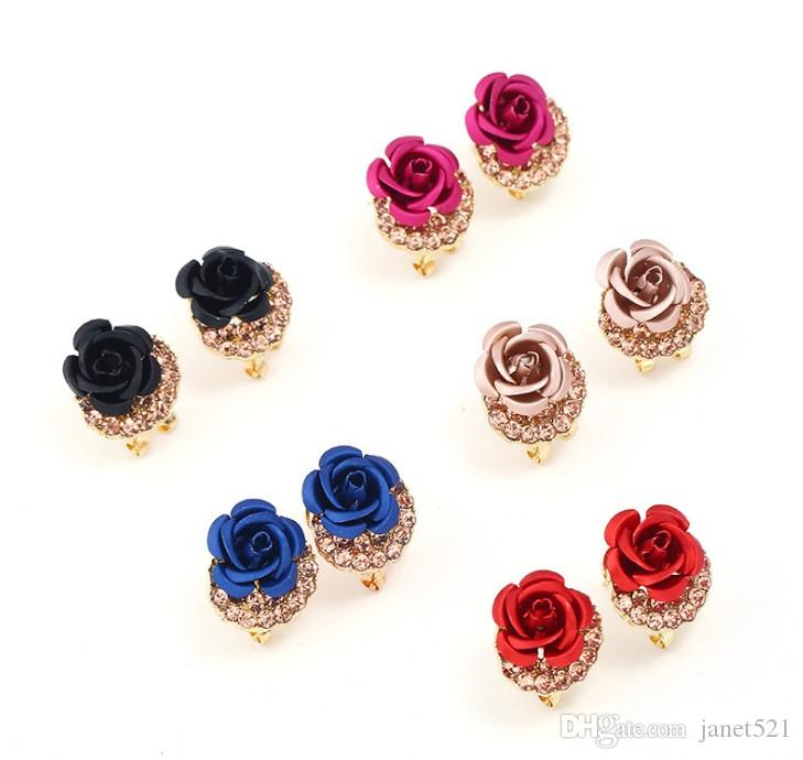 0a6f35f37 2019 Earrings For Girls /Ladies 18K Gold Plated Rhinestone Decorated Metal  Painting Rose Stud Earrings From Janet521, $1.41 | DHgate.Com